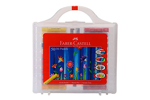 Faber-castell Oil Pastels Set of 50 Easy to Pack and Carry Colour Tool Box (Plastic Box Packing) (Faber Castell Paper)