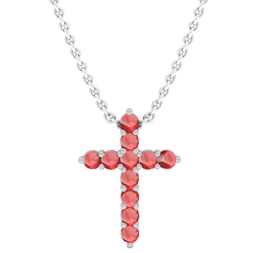 14K White Gold Round Ruby Ladies Cross Pendant (Silver Chain Included)