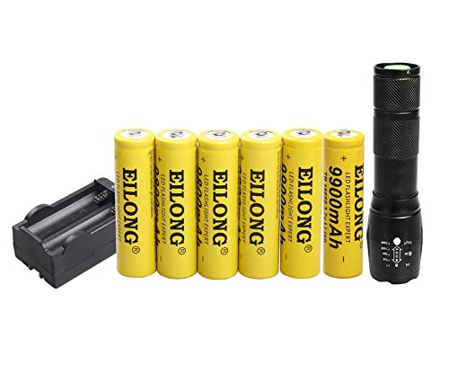- LED 1600 Lumen 18650 Flashlight with 6PCS 3.7V 9900mAh Rechargeable Battery and Charger,Ultra Bright Adjustable Focus and 5 Modes