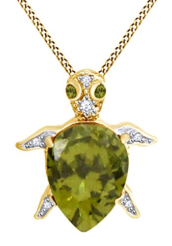 AFFY Pear Shape Simulated Peridot & White Cubic Zirconia Turtle Pendant In 14k Yellow Gold Over Sterling Silver (Peridot Turtle)