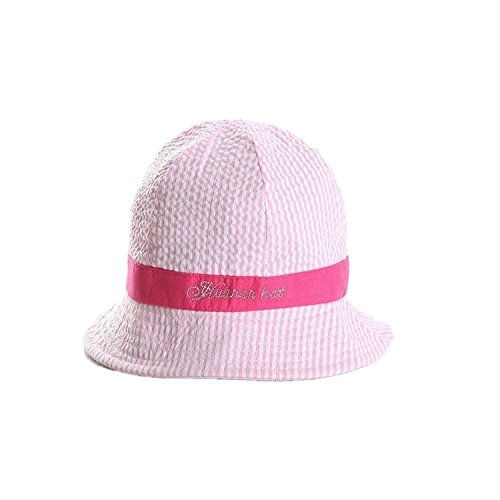 (Rejected all traditions® Solid 100% Cotton Printed Stripe Bucket Sun Protection Hat for Baby Girls Boys - Pink)