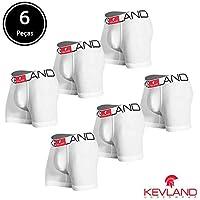 Cuecas Boxer Kevland - Kit Com 6 Peças ALGODÃO BRANCO