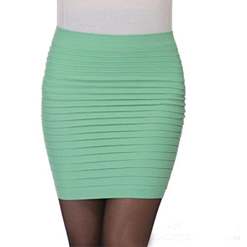 La Sra Verano Faldas Color Sólido De La Cadera Del Paquete Multicolor Green