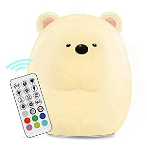 HeeJo LED Nursery Night Light for Kids: Girl Boy Baby Gifts, Remote Control Silicone Baby Night Light with Touch Sensor – Portable and Rechargeable Color Changing Lamps for Bedrooms (Cute Bear)