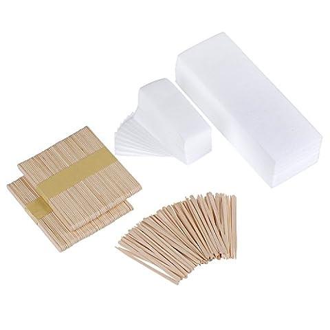 Mudder 200 Pieces Waxing Strip Non-woven Wax Strip Hair Removal Wax Strips and 200 Pieces Wax Applicator - Non Woven Waxing