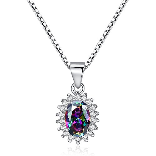 Price comparison product image BELAWANG 925 Sterling Silver CZ Pendant Necklace Women Fashion Jewelry Christmas Day Gift