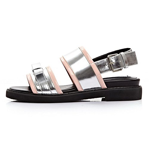 Leather Silver Sandals Cow with Solid Kitten AllhqFashion Round Open Bowknot Heels Toe Womens qw76X