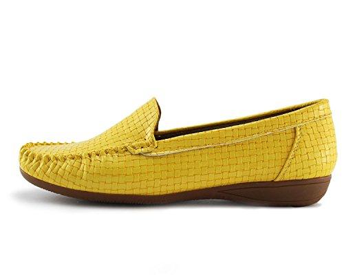 Jabasic Kvinna Slip-on Loafers Platt Tillfälliga Drivskor Läder Fodrad Gul