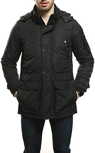 Piero Lusso Men's Parka Water and Wind Proof Coat Zippered and Snapped Clouse Outerwear Jacket