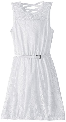 Dream Star Big Girls' Fully Lined Lace Dress with Belt and X Back, White, Small