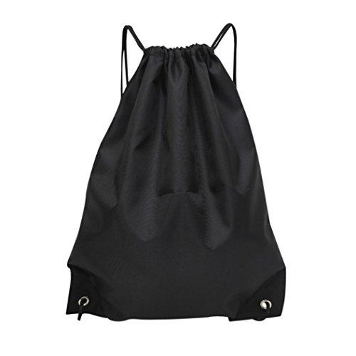 WILLTOO Fashion Unisex Solid Storage Bag Sporting Traveling & Hiking Backpack Drawstring Bundle Pocket (Black) (Bucket Louis Vuitton)