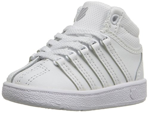 K-Swiss Classic VN Mid Sneaker (Little Kid/Big Kid), White/White, 4.5 M US Big Kid