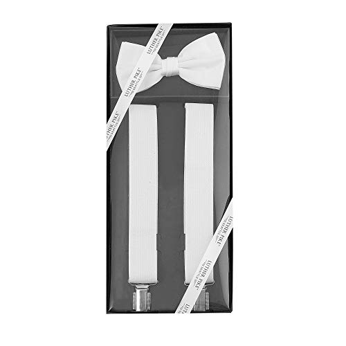 Luther Pike Formal Dress Mens Prom or Dance Bow Tie & Tuxedo White Suspenders For Men Gift Box -