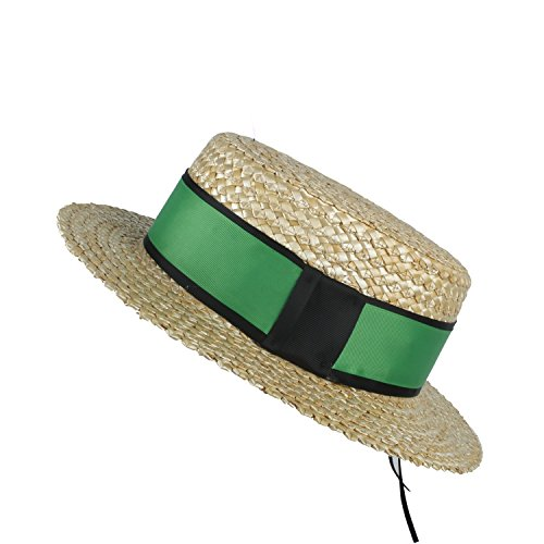 Fashion Hats, Caps, Elegant Hats, Natural Caps 100% Natural Wheat Straw Women Beach Sun hat with Flat Pork Pie Lady Fashion Boater Sun hat by Original Design (Color : Green, Size : 57-58CM)