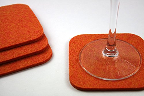 Square Drink and Beverage Coaster Set in 5mm Thick Merino Wool Felt- Tangerine (Wool Tangerine)