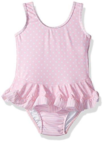 Flap Happy Baby Girls UPF 50+ Stella Infant Ruffle Swim Suit, Pink dots, 18m