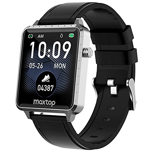Smart Watch,MAXTOP Smartwatch Compatible iOS/Android Phones for Fitness Activity Tracker with Heart Rate Monitor & Blood Pressure Monitor&Sleep Monitor, Step Counter for Men Women(Silver)