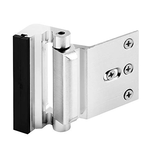 "Defender Security U 11325 Door Reinforcement Lock – Add Extra, High Security to your Home and Prevent Unauthorized Entry – 3"" Stop, Aluminum Construction (Brushed Chrome Anodized Finish) - Door Security Bolt"