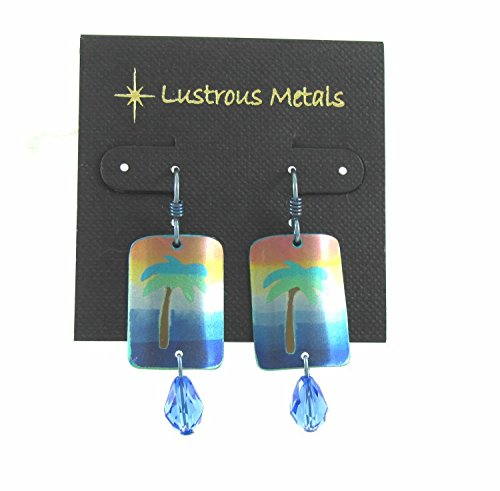 Niobium, drop, earrings chandelier, palm tree earrings, Lustrous Metals Jewelry, 100% hypoallergenic, made in California, Swarovski, crystals, Ocean blues, Holly green (Tropical Earrings Palm Tree)