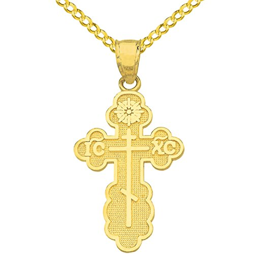 Solid 14k Yellow Gold Eastern Orthodox IC XC Cross Charm Pendant Cuban Necklace, - Cross Byzantine 14k