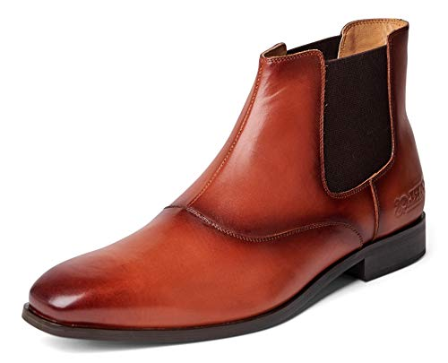 Carlos Santana Rhythm Men's Designer Hand Painted Chelsea Boots for Style and Comfort (9 D US, Cognac)