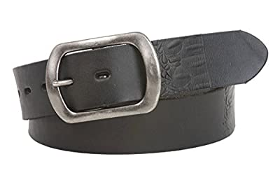 Snap On Oval Soft Hand Vintage Cowhide Embossed Leather Casual Belt