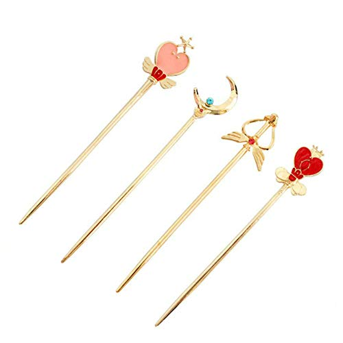 Moon Love Heart Wings Hairpin Girls Hair Accessories (gold)