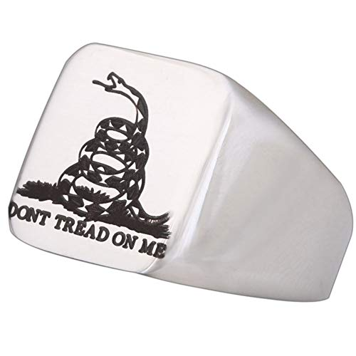 - Polished Engraved American Gadsden Flag Snake Mens Womens Don't Tread On Me Stainless Steel Ring