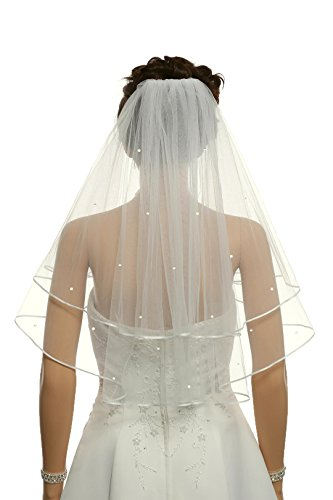 "2T 2 Tier 1/8"" Ribbon Crystal Circular Veil - Ivory Shoulder Length 25"" V514"