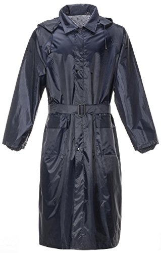 QZUnique Men's Lightweight Long Outdoor Ripstop Waterproof Packable Rain Jacket Zipper Raincoat With Hood Black US - International Usps Shipping Standard