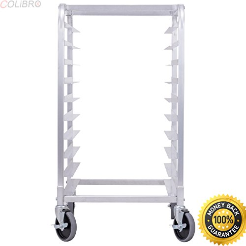COLIBROX--10 Sheet Aluminum Bakery Rack Rolling Commercial Cookie Bun Pan Kitchen New. commercial bakers rack with wheels. bakery equipment for sale by owner. bakery equipment near me.