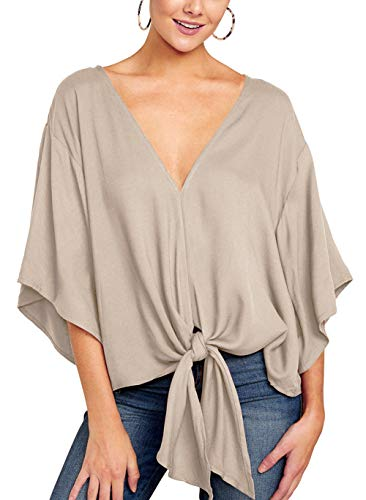 Angerella Dolman Tops for Women Summer Tops and Blouses V Neck Casual Shirts Khaki,S