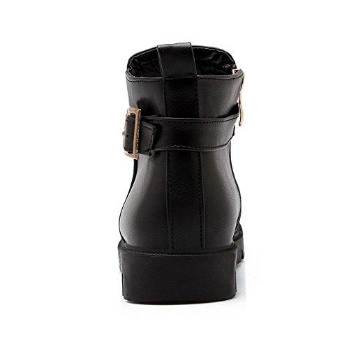 AllhqFashion Mujeres Caña Baja Sólido Cremallera Mini Tacón Botas con Hebilla Metal Negro