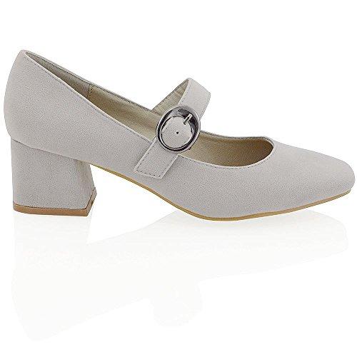 ESSEX GLAM Gamuza Sintética Zapatos de salón de punta cuadrada con tacón bajo cuadrado y hebilla Gris Gamuza Sintética