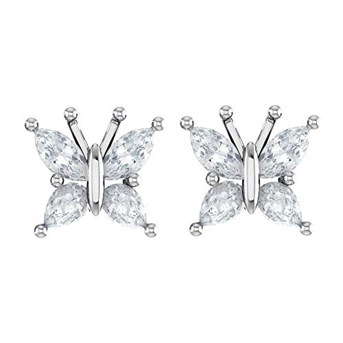 Sterling Silver Marquise Cut 1/2 Carat Rainbow Moonstone Butterfly Stud Earrings with Push Backs, Dainty Butterfly Studs, Rhodium Plated Sterling Silver Stud Earrings for ()