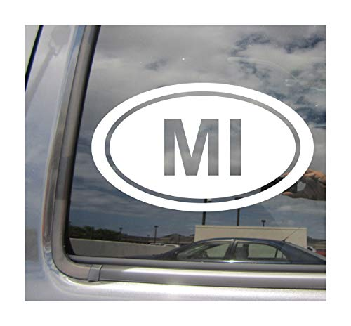 - - MI The State of Michigan Code Oval Euro Style - Abbreviation Lansing Detroit Great Lakes Wolverine Mitten State Cars Trucks Auto Automotive Craft Laptop Vinyl Decal Store Window Wall Sticker 16024