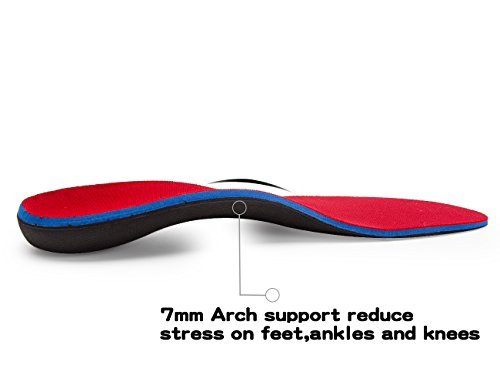 LLSOARSS Orthotic Insoles for Flat Feet - Arch Support Shoe Inserts for Plantar Fasciitis (Men 12-12 1/2, Red) by LLSOARSS (Image #1)