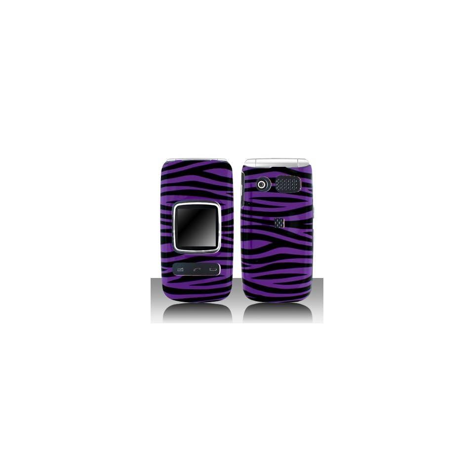 Premium   Pantech P2000/Breeze II Purple/Black Zebra Cover   Faceplate   Case   Snap On   Perfect Fit Guaranteed