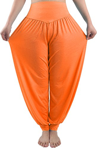 fitglam Women Harem Pants Yoga Pants for Women Genie Pants Boho Pants Modal Cotton Long Baggy Sports Workout Dancing Trousers Orange