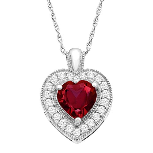 (2 ct Created Ruby & White Topaz Heart Pendant Necklace in Sterling Silver)