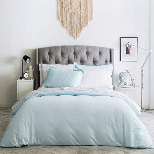 SUSYBAO 2 Pieces Duvet Cover Set 100% Natural Cotton Twin/Single Size 1 Duvet Cover 1 Pillow Sham Powder Blue Luxury Quality Ultra Soft Breathable Durable Fade Resistant Solid Bedding with Zipper Ties