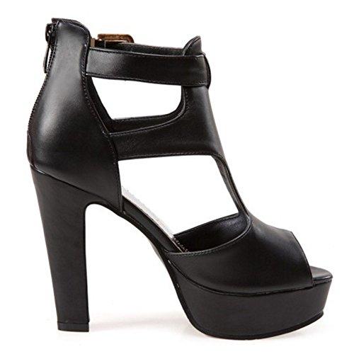 RAZAMAZA Mujer Moda Peep Toe Sandalias Tacon Ancho Plataforma Tacon Alto Zapatos Negro