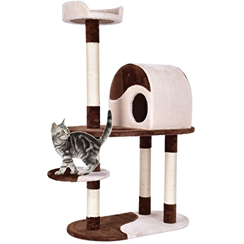 - Tangkula Cat Tree Cat Tower with Perches & Scratching Posts Kitten Activity Tower Condo (Beige+Brown) (48
