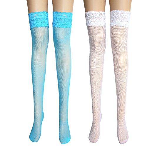 damas antideslizantes medias de red con ancho de encaje costura trasera encima de la rodilla medias de liga con rayas de silicona antideslizante 2 pares / Blanco Turquesa