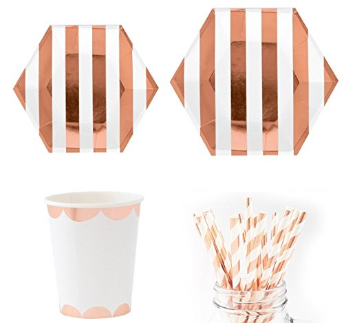 49 PC Newest Rose Gold Deluxe Plates Napkins Cups Bridal Shower Wedding Birthday Party Supply Tableware Sets Bridal Rose Cup