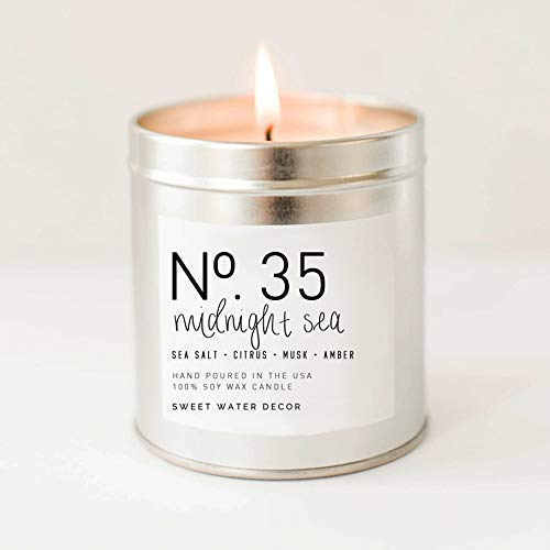 Midnight Sea Natural Soy Wax Candle Silver Tin Summer Scented Sea Salt Citrus Musk Amber Spa Scented Made in USA Lead Free Cotton Wicks Modern Farmhouse Home Decor Bathroom Accessories Gift For Her