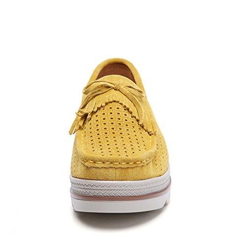 STQ Women Slip On Tassel Platform Loafers Suede Moccasin Comfortable Wedge Work Shoes 2017-2 Yellow 2bVEh