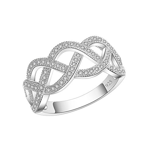 Flower Pave - Woven Ring 925 Sterling Silver Statement with White AAA CZ (Silver, 10)