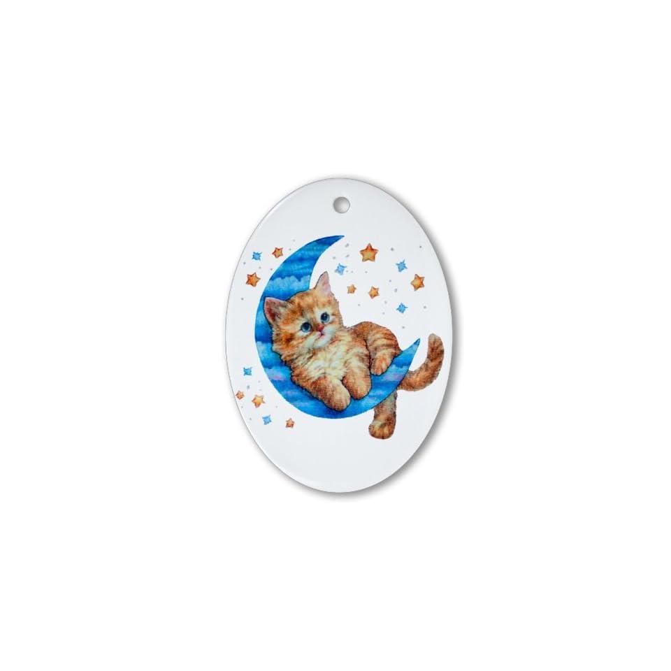 Ornament (Oval) Moon Kitten with Stars