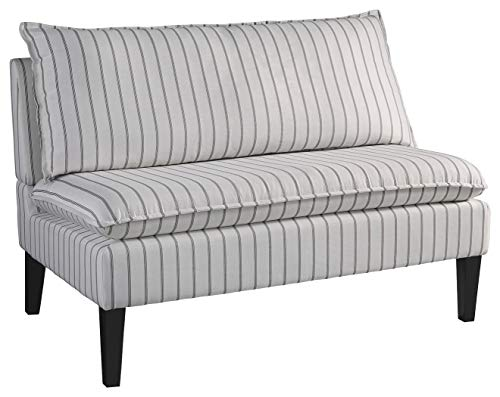 Signature Design by Ashley – Arrowrock Accent Settee Bench – Casual – White Gray Stripes